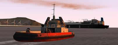 Imagen generada por computadora de dos barcos.
