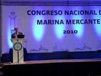 Fotografía del escenario en el Congreso de la Marina Mercante de Mexico