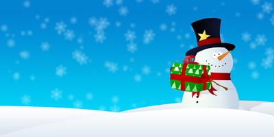 Ilustración de un muñeco de nieve con un regalo.