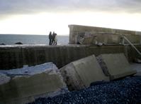 Fotografía de un espigón derruido por el temporal